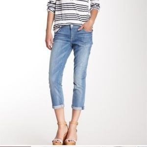 7 FOR ALL MANKIND SKINNY CROP AND ROLL BLUE JEANS